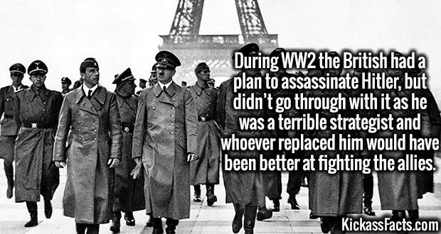 3988 Hitler Assassination-During WW2 the British had a plan to assassinate Hitler, but didn't go through with it as he was a terrible strategist and whoever replaced him would have been better at fighting the allies.