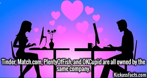 3989 Dating Sites-Tinder, Match.com, PlentyOfFish, and OKCupid are all owned by the same company.
