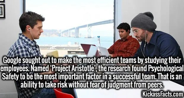 3990 Google Teams-Google sought out to make the most efficient teams by studying their employees. Named 'Project Aristotle', the research found Psychological Safety to be the most important factor in a successful team. That is an ability to take risk without fear of judgment from peers.