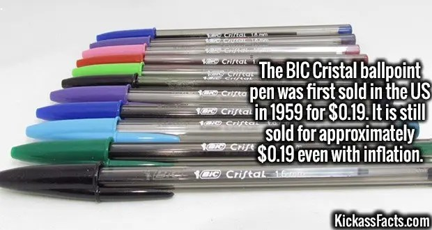 4213-bic-pens-The BIC Cristal ballpoint pen was first sold in the US in 1959 for $0.19. It is still sold for approximately $0.19 even with inflation.