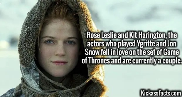 4301 Rose Leslie-Rose Leslie and Kit Harington, the actors who played Ygritte and Jon Snow fell in love on set of Game of Thrones and are currently a couple.