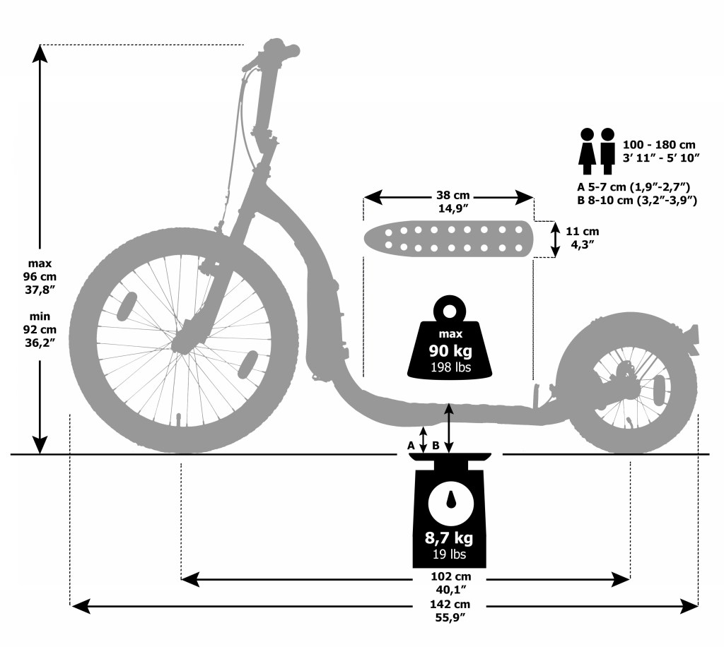 Kickbike Freeride Dimensions