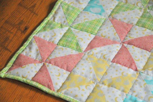 Striped Pinwheel Baby Quilt