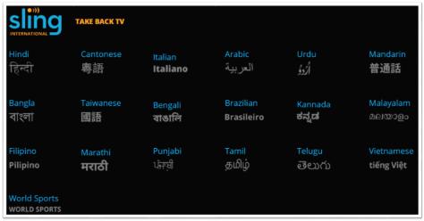 Sling International TV Channels
