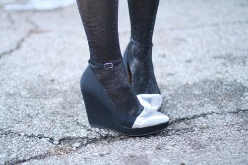 kimberlyloc silver cap toe wedge heels