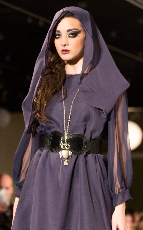 {LB by Lauren Bander of St. Louis got my vote for best show of Saturday night. I want everything she sent down the runway, including this short hooded dress that moves oh-so-nicely and has an air of mystery to it.}