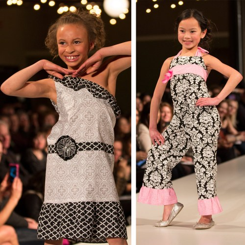 {Ruffled Runway opened the show with some major adorableness. I love the little jumpsuit the model on the right is wearing.}