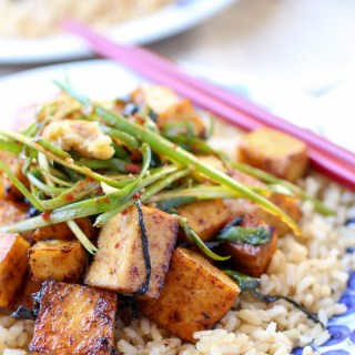 Baked Tofu Scallion Stir Fry