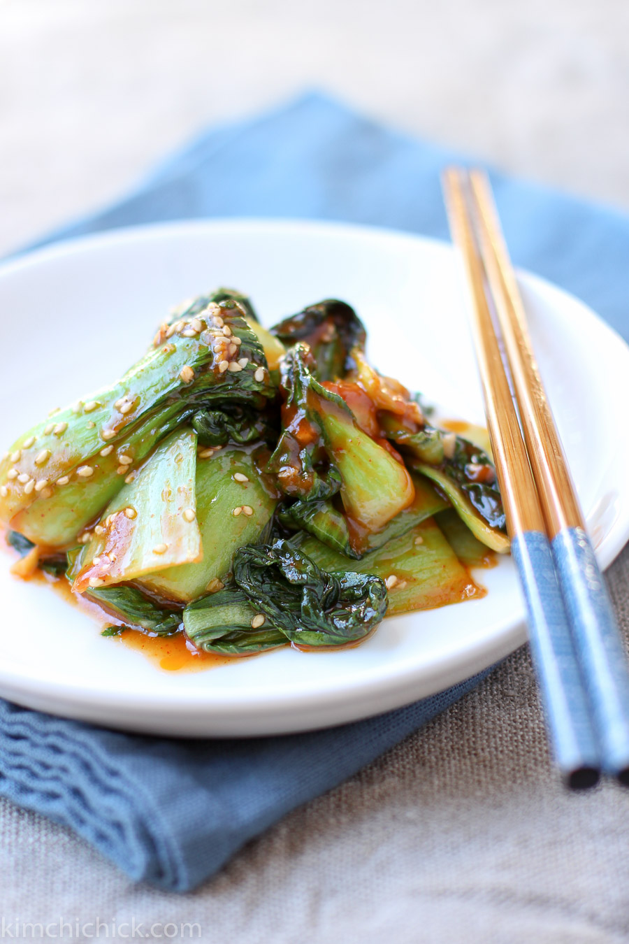 Korean-style bok choy is a quick and easy 10-minute veggie side dish that is hearty, healthy, and full of Korean flavors! |kimchichick.com