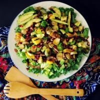 Autumn Harvest Salad with Roasted Squash, Brussels Sprouts and Caramelized Onions