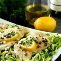 Chicken Piccata Over Zucchini Noodles