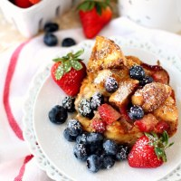 Baked Strawberry Bagel French Toast Casserole