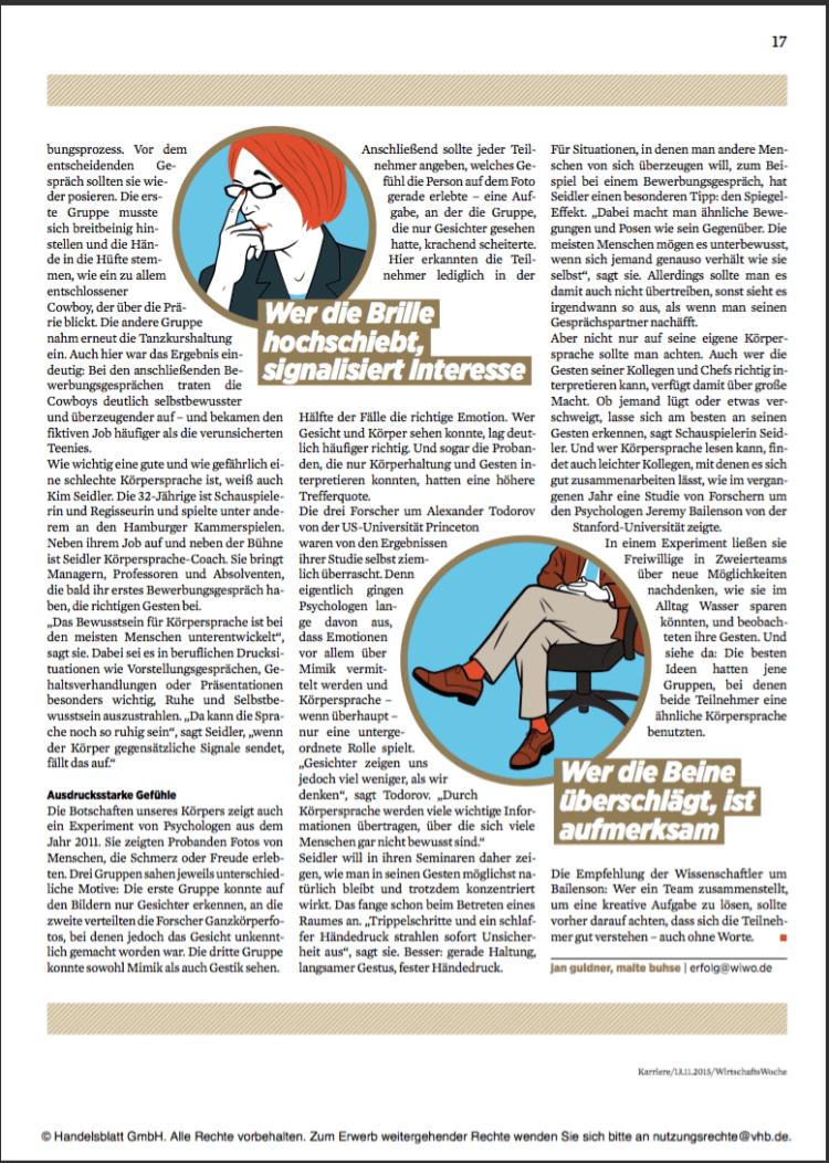 Auszug aus der Wirtschaftswoche Nr. 47 /2015 - Sonderheft Karriere ©Handelsblatt