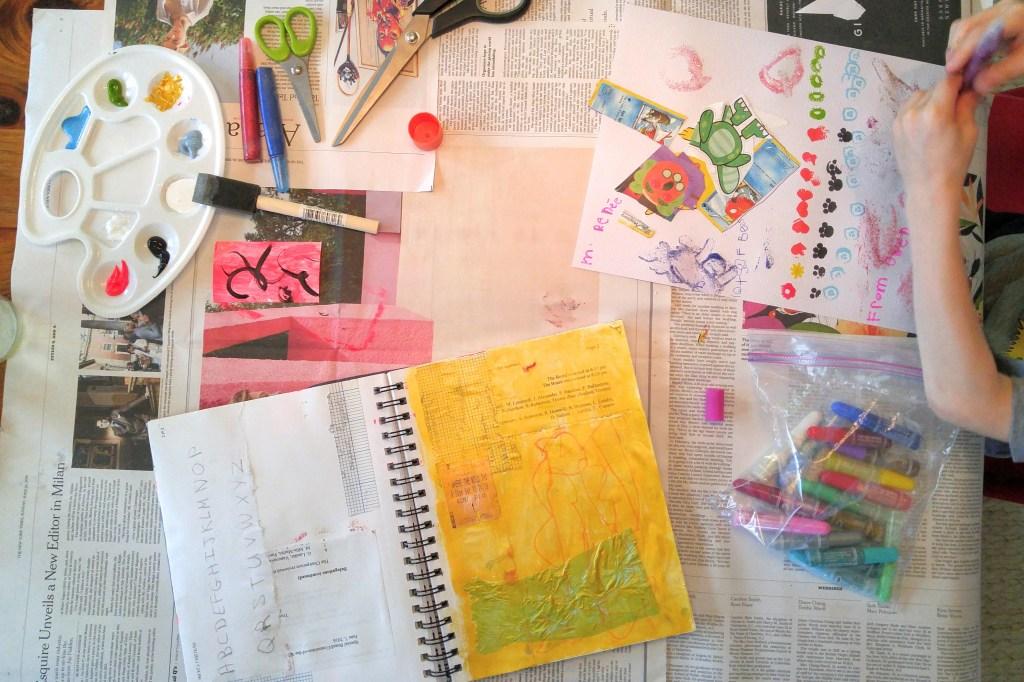 Art journaling with collage! Daily Art Journal at http://kimwerker.com/blog
