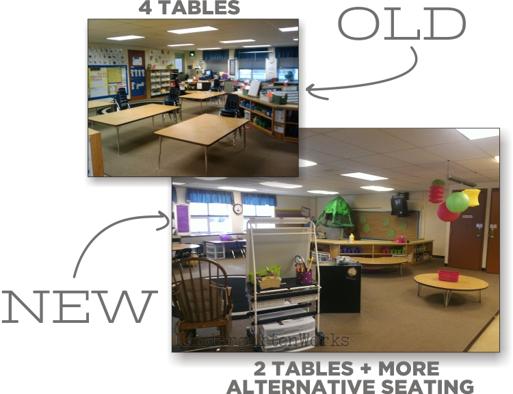 Kindergarten Works :: getting rid of my teacher desk {alternative seating bonus}
