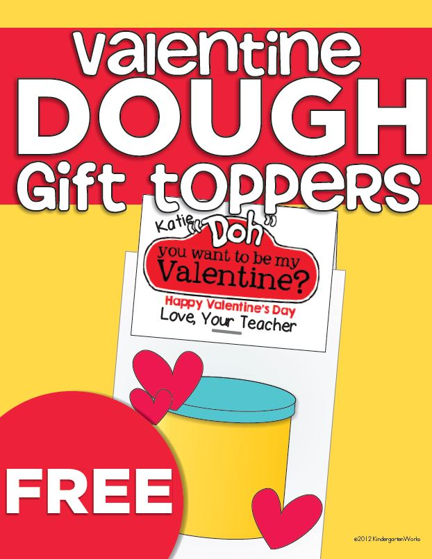Teacher Valentine's Day Playdough Gift Toppers
