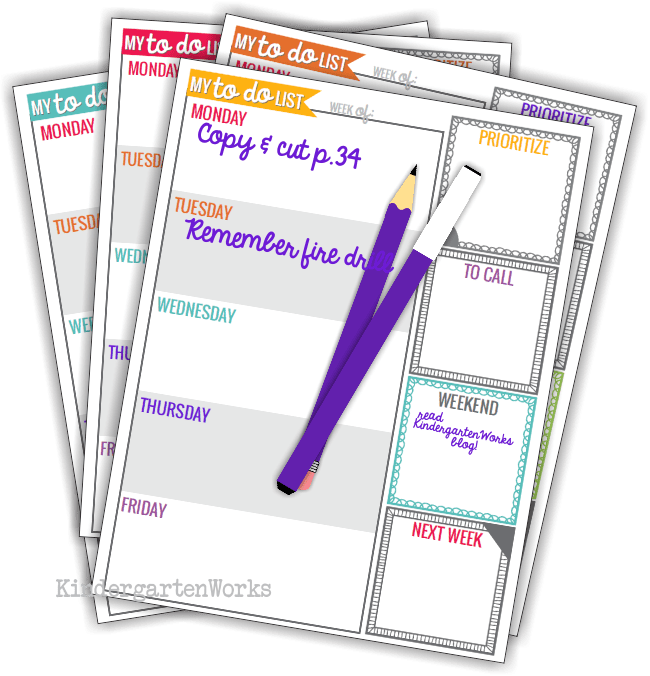 teacher planning weekly to do list