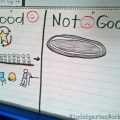 simple chart for teaching students when to use the restroom :: good times and not good times chart by KindergartenWorks