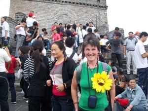 Kate Young on the top of the Great Wall of China, Beijing.