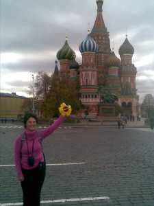 Kate Young in front of St Basil's Cathedral, Red Square, Moscow, October 2008.