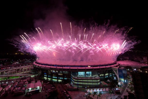 Fireworks explode over the Maracana Stadium during the opening ceremony of the Rio 2016 Olympic Games on August 5, 2016 in Rio de Janeiro, Brazil. Rio 2016 will be the first Olympic Games in South America. (Photo by Chris McGrath/Getty Images)