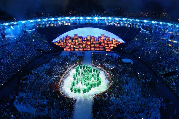 The Olympic Rings are formed in green foliage during the Opening Ceremony of the Rio 2016 Olympic Games at Maracana Stadium on August 5, 2016 in Rio de Janeiro, Brazil. (Photo by Richard Heathcote/Getty Images)