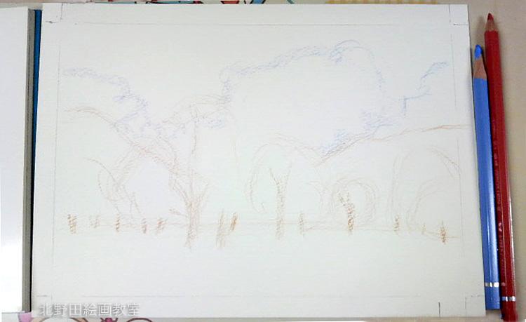 水彩色鉛筆(青空の森)サムホール 北野田絵画教室