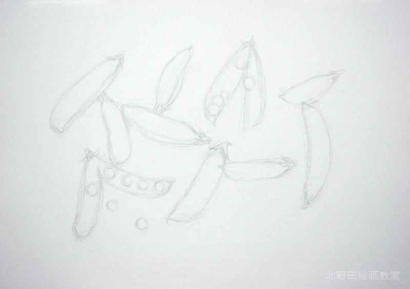 水彩色鉛筆の描き方・えんどう豆スライダー2