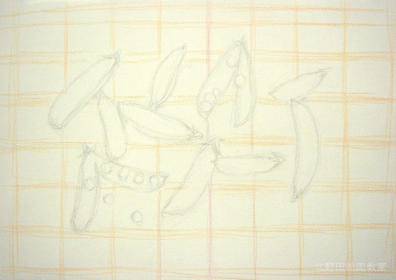 水彩色鉛筆の描き方・えんどう豆スライダー3