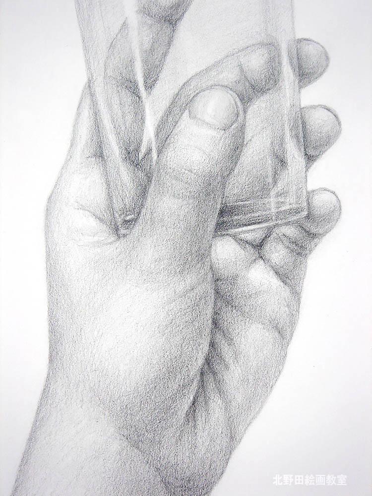 手のデッサンのアップ2
