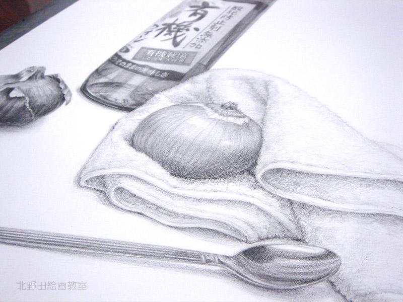 ワインボトルと玉ねぎのデッサン