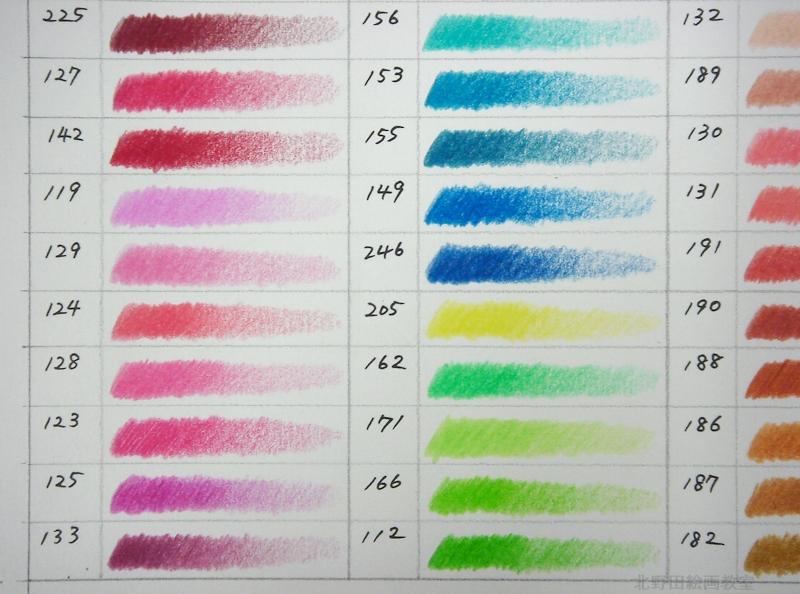 色鉛筆120色 カラーチャート