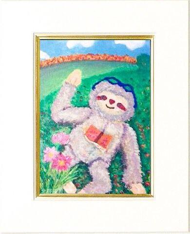 チエコさん ナマケモノ アクリル画