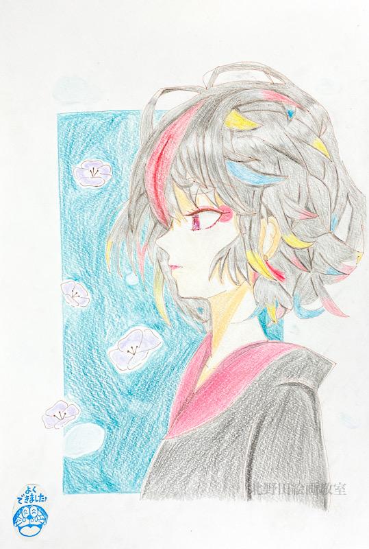 ここねちゃん(小学6年生)色鉛筆画・B4