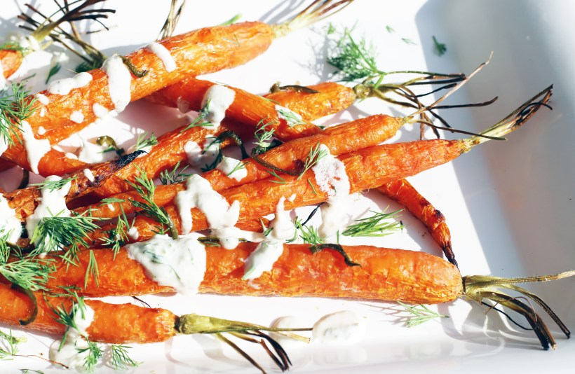 spicy-roasted-carrots-dill-dressing-closeup
