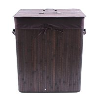 Songmics Folding Laundry Baskets With Lid Bamboo Hampers Dirty Clothes Storage Rectangular Dark Brown ULCB63K