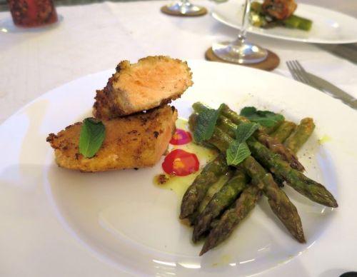 Couscous Lachs mit Senf-Minze Spargel