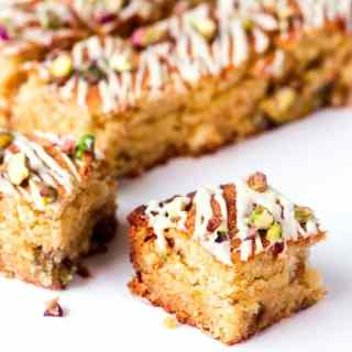 White Chocolate and Pistachio Blondies