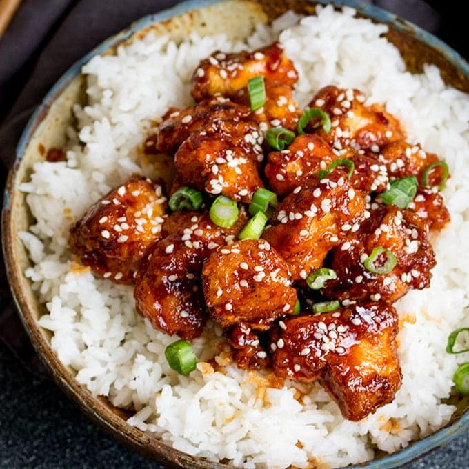 Crispy Sesame Chicken with a Sticky Asian Sauce