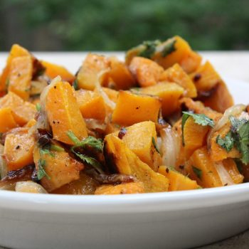 roasted butternut squash with onions, lime and cilantro