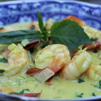 coconut curry shrimp with lime and basil