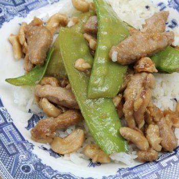 quick pork and cashew stir fry with snow peas