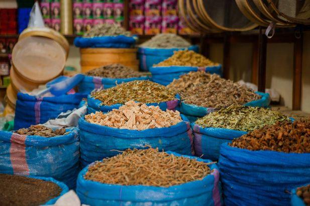 Moroccan spices in Dakhla market, Morocco