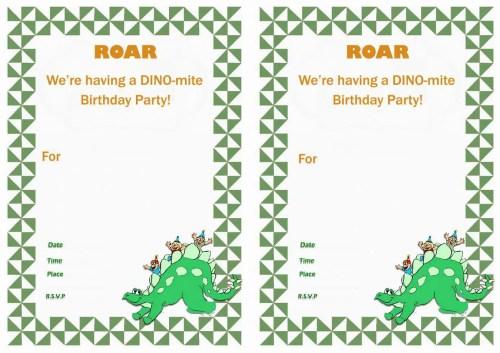 Medium Of Dinosaur Birthday Invitations