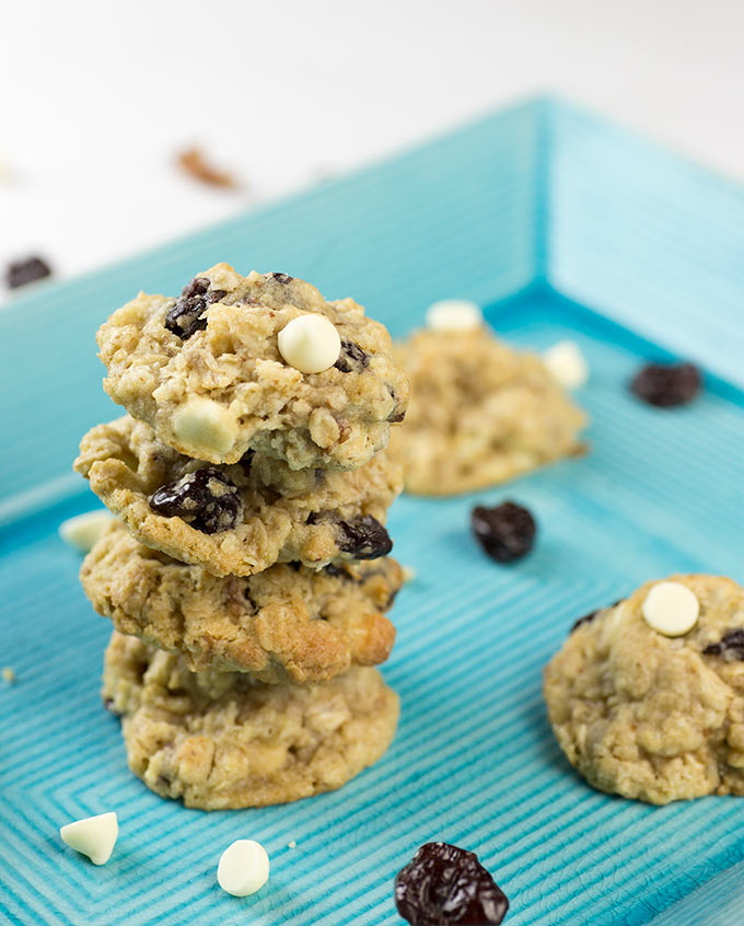 White Chocolate Chip Cookies with Oats and Cherries are a delicious ...