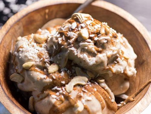Coconut Cinnamon Nice Cream is a healthier version of ice cream made with frozen bananas, fresh coconut milk and a touch of cinnamon!