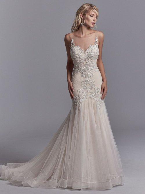 Sunshiny Midgley Image Beaded Heart Neckline Tulle Skirt Fit Flare Wedding Dress Flare Wedding Dress Bysottero Beaded Heart Neckline Tulle Skirt Fit