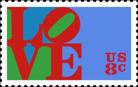 Robert Indiana, 1973 Love stamp