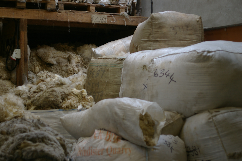 Wool or, in Shetland, Oo, baled up and ready to go for scouring