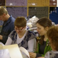 A throng of Shetland Wool Week knitters at the Woolbrokers